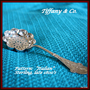 "Tiffany sugar sifter in the ""Italian"" pattern designed by E. C. Moore"