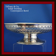 Tiffany filigreed pedestal centerpiece bowl in solid sterling silver (not weighted)
