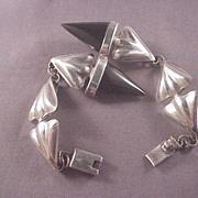 Unique Vintage Sterling and Onyx Bracelet