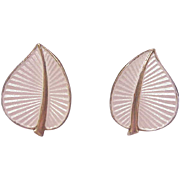 Sterling Enamel Leaf Earrings/Albert Scharning/Norway