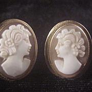 Nice 14k Carved Cameo Earrings/Posts