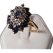 SOLD 14k Sapphire and Diamond Ring size 9 1/2