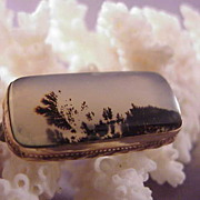 Pretty Vintage Moss Agate Pin/GF