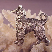 Cute Vintage Sterling Afghan Hound Pin