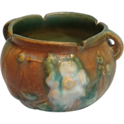 SALE Roseville Pottery White Rose Green and Brown Jardiniere 653-3