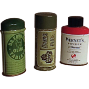 Three Vintage Medicinal Drugstore Tins - Doan's, Olive Tablets, Dental Powder.