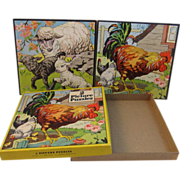 Vintage Whitman 1941 Picture Puzzles - Lambs & Chickens - Two in Original Box