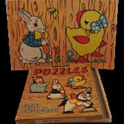 2 Vintage 1940s Children's Inlay Puzzles - Bunny & Chick - In Original Box