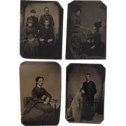 4 Old Tintypes Photos Ladies in Hats Man & Boys