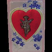 Vintage Valentine Postcard with Metal Cupid on it