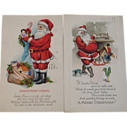 Pair of 1930 and 1923 Santa Postcards