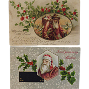 2 Victorian Santa Postcards