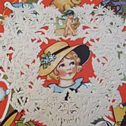 2 Vintage Oversized Whitney Valentine Hearts with Doily Lace