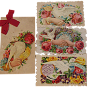 Set of 4 Embossed Victorian Calling Cards