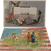 1908 Embossed 'Great White Fleet' Postcard and a Tuck 'George Washington's Birthday'