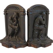 Vintage Cast Bronze Thinker Bookends