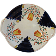 Antique Gaudy Welsh Cake Plate in the Tulip Pattern