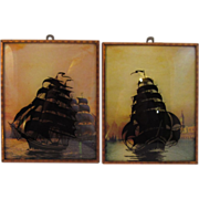 Set of Two Ship Silhouettes on Convex Glass