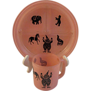 Hazel Atlas Pink Circus Child Dish and Mug