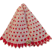 SOLD Vintage Roundabout Valentine Hearts Hankie by Carol Stanley - Red Tag Sale Item