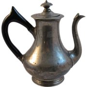 Early Pewter Coffee Pot with Black Wood Handle