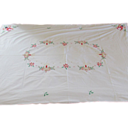 Vintage Hand Made Christmas Tablecloth with Santa & Candles
