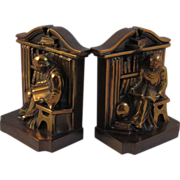 SOLD Vintage Cast Metal Monk in Library Bookends