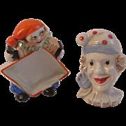 2 Humorous Art Deco Clown Figurines