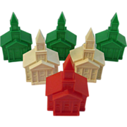 6 Christmas Church Light Bulb Covers - Vintage Plastic