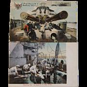 2 Pre WWII US Navy Battleship Postcards