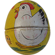Vintage Tin Litho Toy Easter Egg Haji Japan