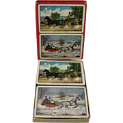 SALE Vintage Currier and Ives Double Deck of Playing Cards