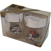 Vintage Mickey & Minnie Glass Salt and Pepper Shakers in Original Box Walt Disney Productions