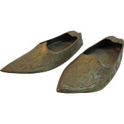Vintage Miniature Brass Shoes from India