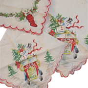 3 Vintage Christmas Linen Hankies Snowmen in a Car and Cat in a Stocking