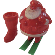 2 Vintage Santa Candy Containers Rosbro Boot and Santa on Skis