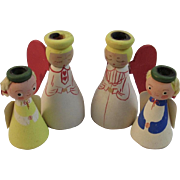 Set of 4 Vintage Danish Modern Wood Christmas Angel Candle Holders Made in Sweden