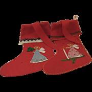 Pair of Vintage Austrian Wool Appliqué Christmas Stockings