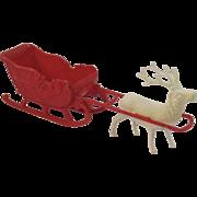Vintage Irwin Hard Plastic Santa Sleigh with Reindeer