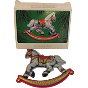 SOLD Vintage Hallmark Pressed Tin Rocking Horse Christmas Ornament