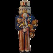 Vintage Hallmark Uncle Sam Pressed Tin Christmas Ornament