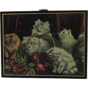 Vintage Cats in a Basket of Roses Miniature Plaque Picture