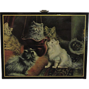Vintage Cat in a Hanging Basket Miniature Plaque Picture
