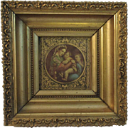 Florentine Madonna and Child Religious Print in Deep Gold Gilt Frame