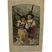 Hand Tinted German Postcard with Real Edelweiss and Children