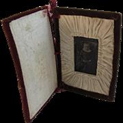 Victorian Tintype Photo of a Little Girl in a Handmade Velvet Book Frame
