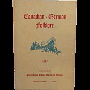 Canadian German Folklore Vol 1 1961