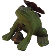 Miniature Cast Iron Frog with Bow and Bell