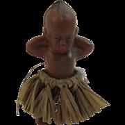 Vintage Black Kewpie Miniature Doll in Grass Skirt Hard Plastic