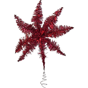 Vintage Red Tinsel Star Christmas Tree Topper